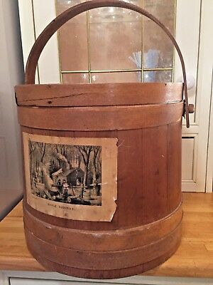 Lovely Vintage Firkin - Wooden Sugar Pail - Primitive Rustic Storage