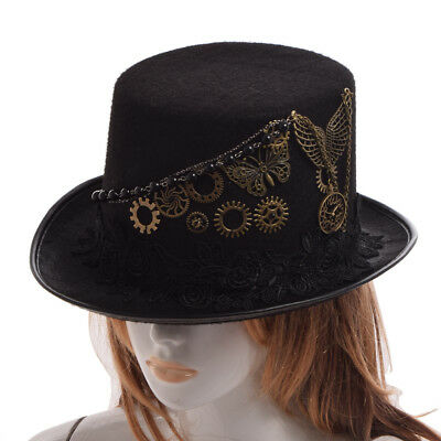 Vintage Victorian Steampunk Gear Butterfly Top Hat Women's Party Costume Hat