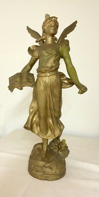 DECORATIVE FRENCH ANTIQUE WINGED ANGEL - PAINTED SPELTER STATUE c1900