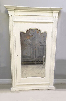 Wonderful Tall Antique French Painted Mirror - Foxed Glass