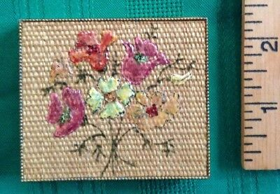 Vintage Vanity Powder Antique Wand Art Compact Case ~ Hand Painted Flowers