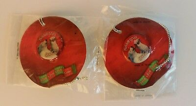 Red Coca-Cola Polar Bear Holiday Button - Set of 2 Coke Pins Christmas New 2005