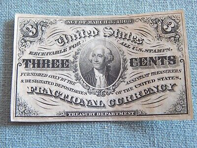 Civil War Era US Fractional Currency 3c George Washington   Lot F1