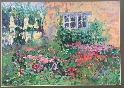 Impressionistic, pointillistic colorful painting. Garden with flowers