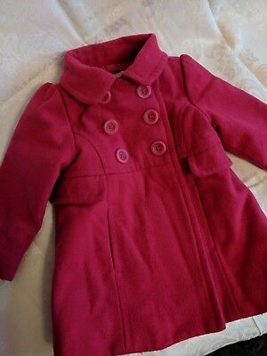 OLD NAVY Gorgeous Pink Pea Coat Girls Size 18-24 Months - EUC