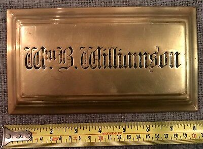 Rare Find Original Antique Brass Masonic Plaque Wm B Williamson C1880