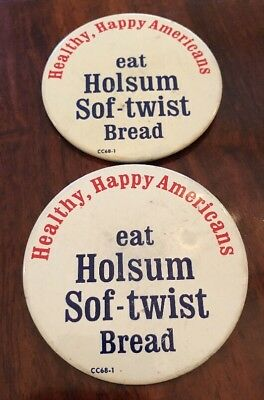 Vintage HOLSUM SOF-TWIST BREAD Metal Advertising Pin Button PAIR