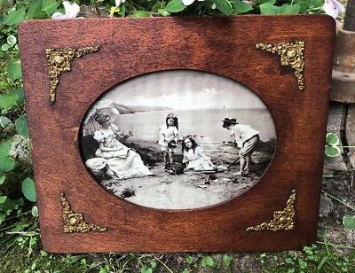 Antique VICTORIAN 1890's Wood Photo Picture Frame Oval W/Fancy Brass Medallions