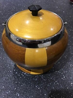 Vintage Wood Treen Chequered Ceramic Liner - ice/ tobacco/ pipes Bucket, Bar ,