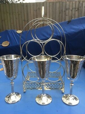Vintage silver plated wine rack and goblets