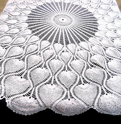 "Vintage Crochet Lace Tablecloth 62"" Round Pineapple Design White Cotton"