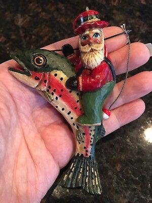 Midwest Santa On A Rainbow Trout Fish Fisherman Ornament By Tate XLNT cond.
