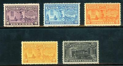 Unused US Fresh Quality Stamps FVF Special Delivery Scott E15 - E19 Set MNH
