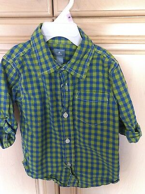 Euc Babygap Toddler Boys Plaid Long Sleeve Button Down Shirt, Size 3T