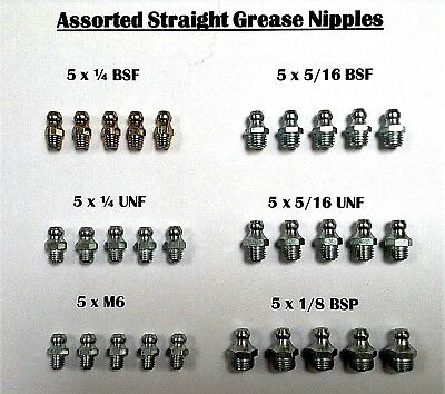 Grease Nipples Straight  1/4BSF,5/16BSF,1/4UNF,5/16UNF,M6 &1/8BSP   5 Of Each