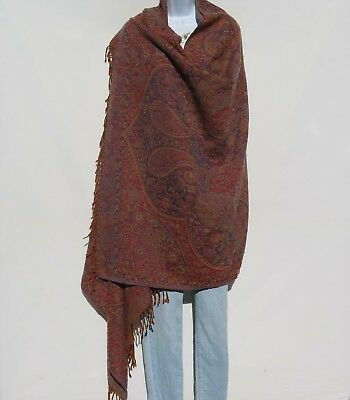 Yak/Sheep Boiled Wool Blend|Oversize|Shawl/Throw|Handcrafted|India|Wine/Blue