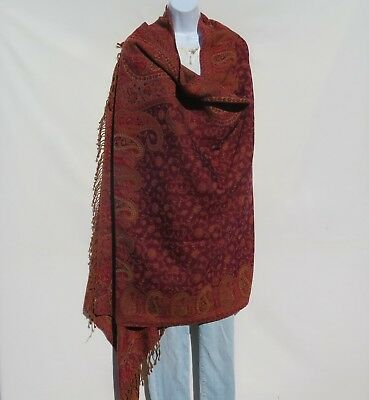 Yak/Sheep Boiled Wool Blend|Oversize|Shawl/Throw|Handcrafted|India|Red/Plum/Sand