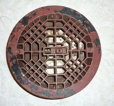 Antique Vintage Cast Iron Round Louvered Floor Heat Vent Grate Register - DECO