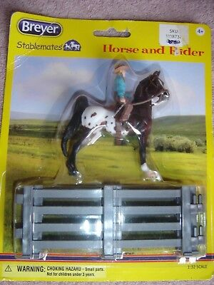 MOC New Breyer Stablemates 1:32 scale Western Horse Rider Girl Fence 6200 2015