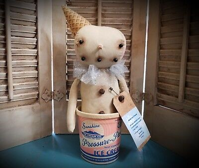 Primitive Snowman Doll in Vintage Ice Cream Container  ~ Snow ~ Winter ~