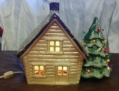 Vintage Ceramic Lighted Christmas Tree & Mountain House And Lights