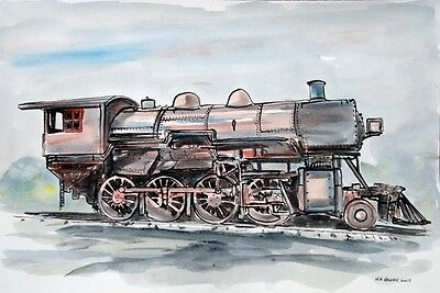 TRAIN LOCOMOTIVE, fine art railroad painting, signed/dated, one-of-a-kind Helvey