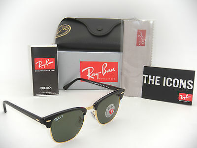 64f657193d7 Ray-Ban Authentic Clubmaster RB 3016 901 58 Black Frame   Green Polarized  49mm