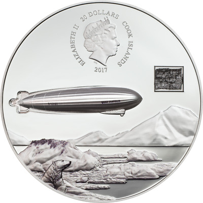 2017 Cook Islands 100th Anniversary of Graf Zeppelin 3 oz Silver NGC PF69 UC ER