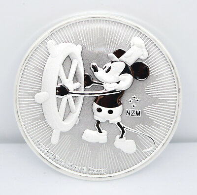 ** 2017 Niue 1oz Silver Disney Mickey Mouse STEAMBOAT WILLIE Coin in Capsule **