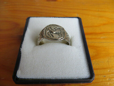 1300 - 1500 AD Mittelalter ancient medieval Silber ring dragon authentic+proven.