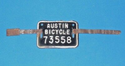 Vintage Austin Texas Metal Bicycle License Plate