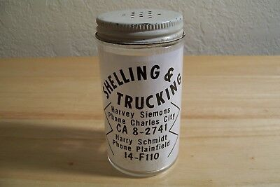 Glass Pepper Shaker Advertising Siemons Shelling Charles City & Plainfield Iowa