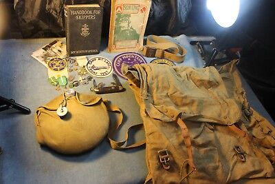 Lot Boy Scout Bsa Vint 1935 1St Ed Skippers 1919 Mag Medals Canteen Bag Patches