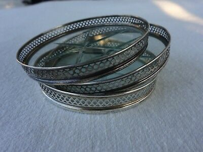 Vintage 3 Webster  Sterling Silver & Cut Crystal Glass Coasters