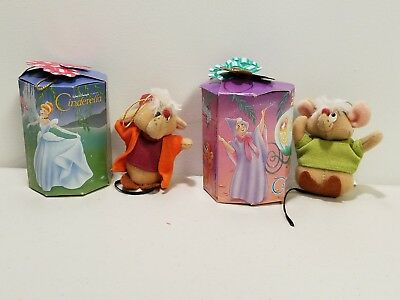 Vintage 1987 Disney Cinderella Plush Mice Jaq & Gus Christmas Mouse Ornaments