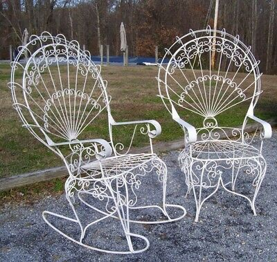 Vintage / Antique French Twisted Wrought Iron Chairs /peacock- One Is A Rocker!
