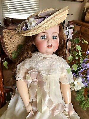 Antique Dress And Bonnet For Antique Bisque Doll. Robe Ancienne.