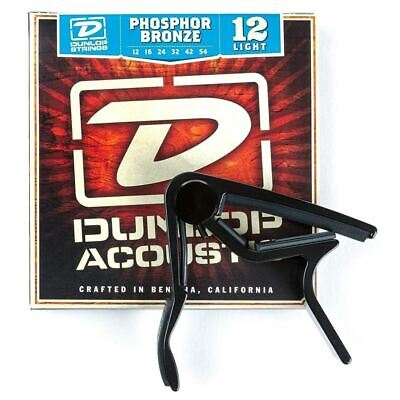 Dunlop 83CBA12 Acoustic Guitar Capo and Phosphor Bronze Strings Combo Pack