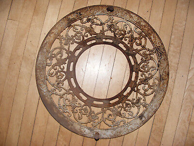 Antique Round Cast Iron Ceiling Grate Floor Heat Register Vent Victorian
