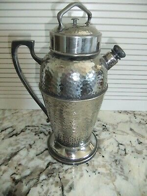 Vintage Hammered Silverplate Martini COCKTAIL SHAKER Pitcher M M CO. N565