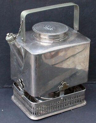 Antique English Silver Coracle Picnic Teapot Coffee Burner Stand GW Scott & Sons