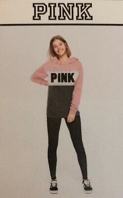 Victorias Secret PINK CAMPUS HOODED PULL OVER Gift Set LARGE PINK SILVER NEW