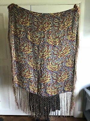 1920s 20s 1930s 30s Large Lamé Lame Op Art Deco Psychedelic Tassel Piano Shawl