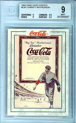 1994 Coke Case Insert #cm1 Christy Mathewson Bgs 9 Mint