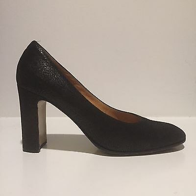 be33595b68 CASADEI Black Suede Leather Round Toe Block Heels Size 8 B Textured Print  Pumps