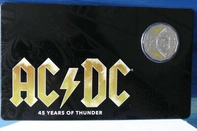 Ac/dc 50 Cents 2018 45 Years Of Thunder Coloured Coin