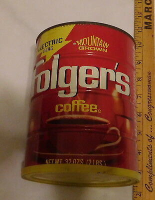 vintage Folger's Coffee tin Can EMPTY with Lid electric perc 32 oz size