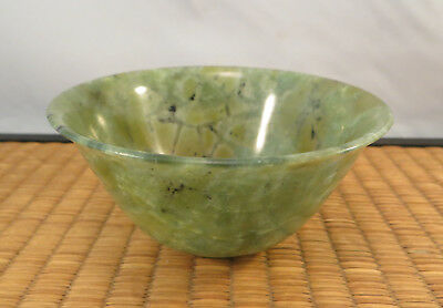 Vintage Translucent Chinese Green Spinach Jade Stone Tea Cup China A