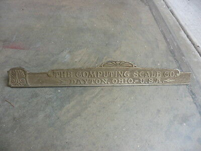 Original 1900s Compting Scale Co Cash Register Top Brass Name Plate As Found @@
