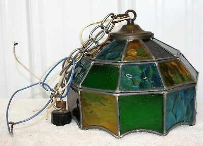 Vintage Tiffany-Style HANGING LAMP Stained Glass Light Fixture Multi Colors 70's